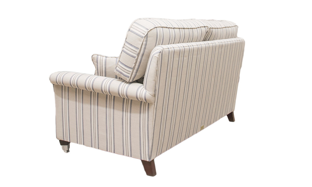 Cumbria 2 Seater Sofa, Volkan Stripe Nordic Blue, Silver Collection Fabric