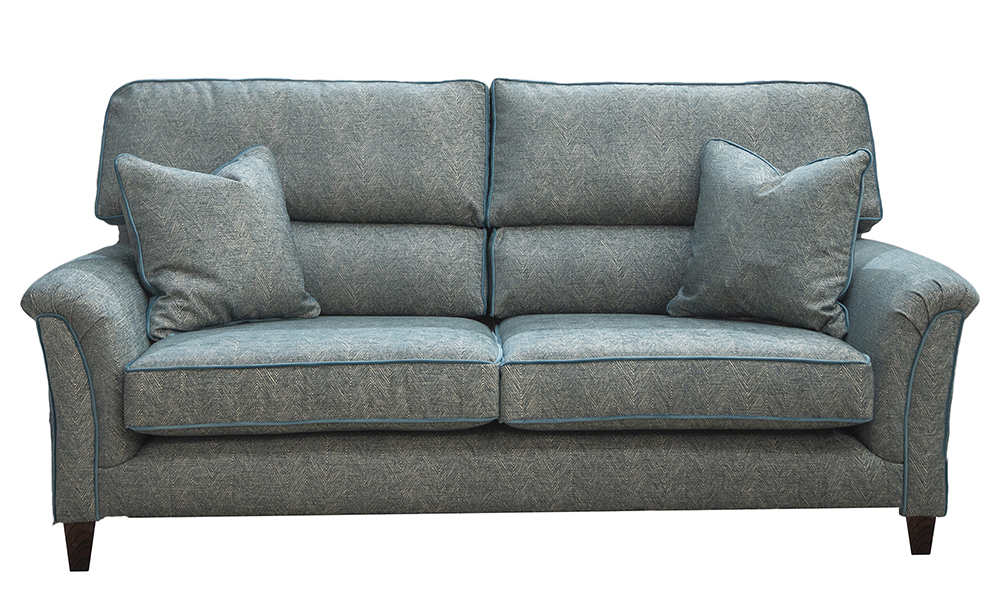 Cumbria 3 Seater Sofa in Loisa Herringbone Ocean, Silver Collection of Fabrics
