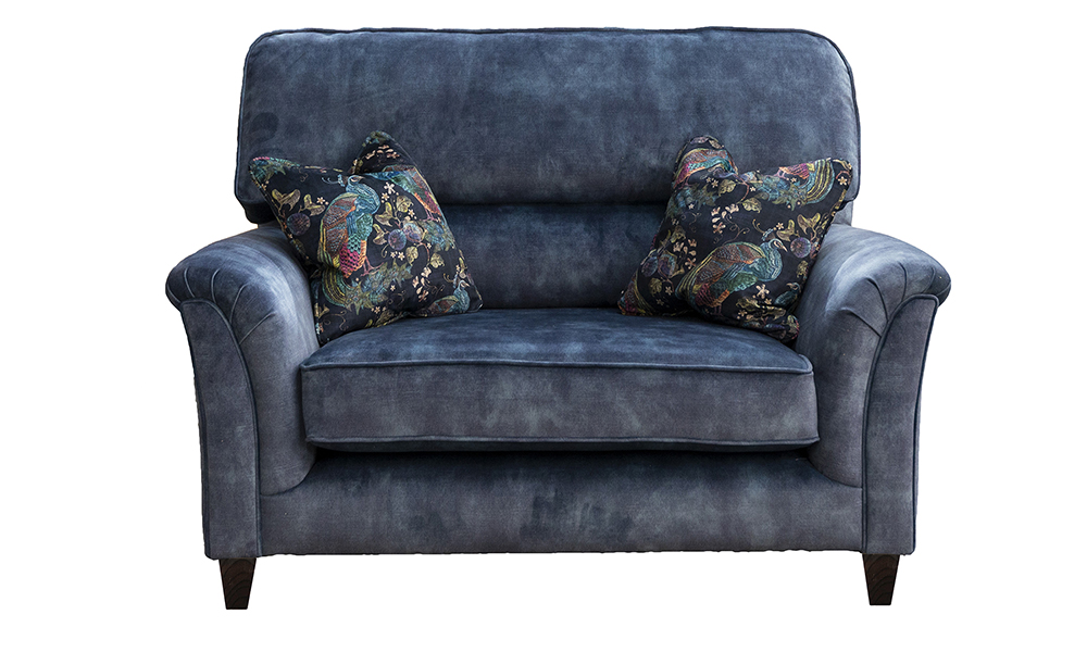 Cumbria love Seat in Lovely Atlantic, Gold Collection Fabric