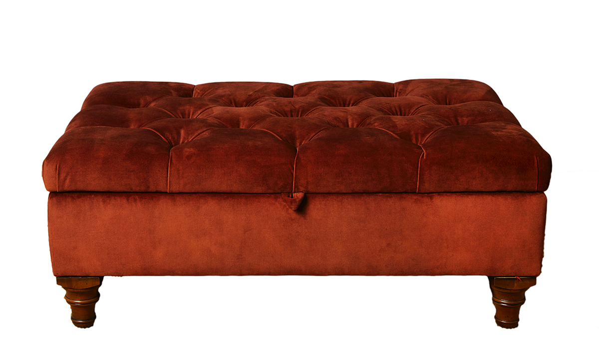 Deep Button Storage Ottoman in  Lovely Umber, Gold Collection Fabric
