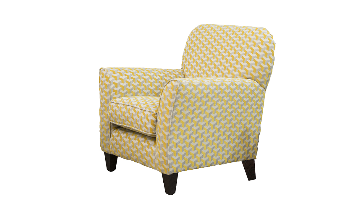 Dylan Chair in Levonne Mustard Silver Collection of Fabrics