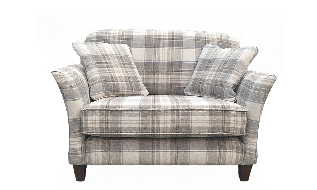 Elijah Love Seat in Aviemore Plaid Linen, Silver Collection Fabric