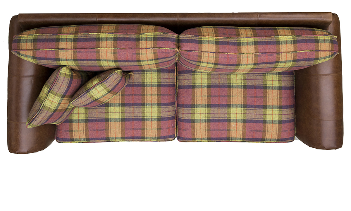 Eloise Grand Sofa Top View in Mustang Tan Leather & Wool Plaid Fruit Salad