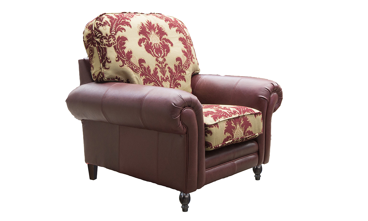Eloise Chair in Mustang Oxblood and Pendragon Pattern Merlot.