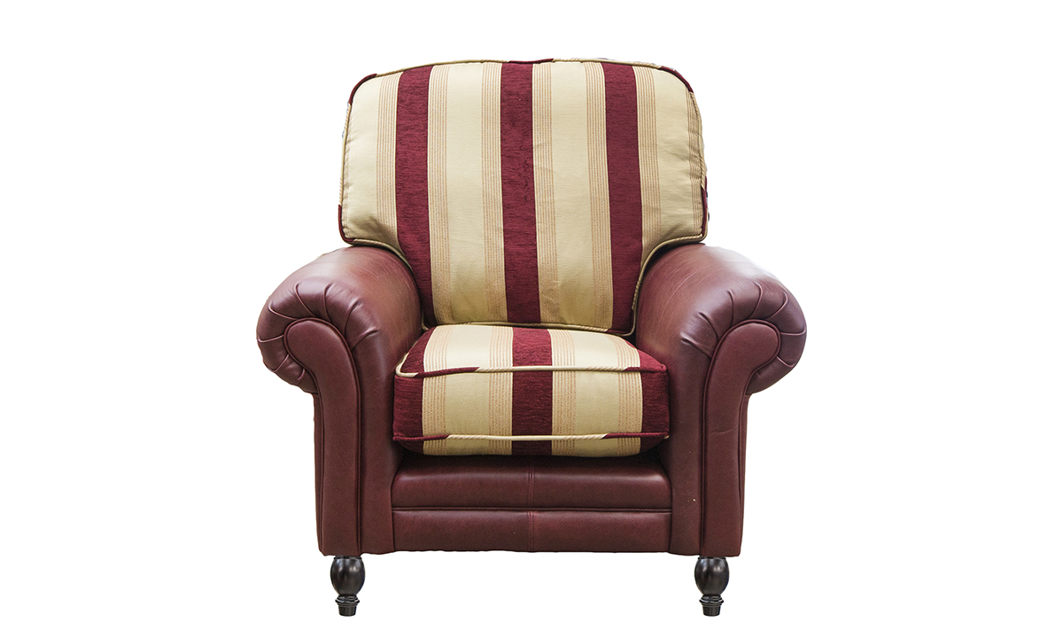 Eloise Chair in Mustang Oxblood and Pendragon Stripe Merlot.
