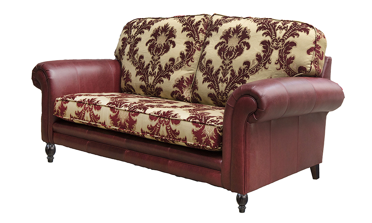 Eloise 2 Seater Sofa, Mustang Oxblood and Pendragon Pattern Merlot.-Side-in-Mustang-Oxblood-and-Pendragon-Pattern-Merlot