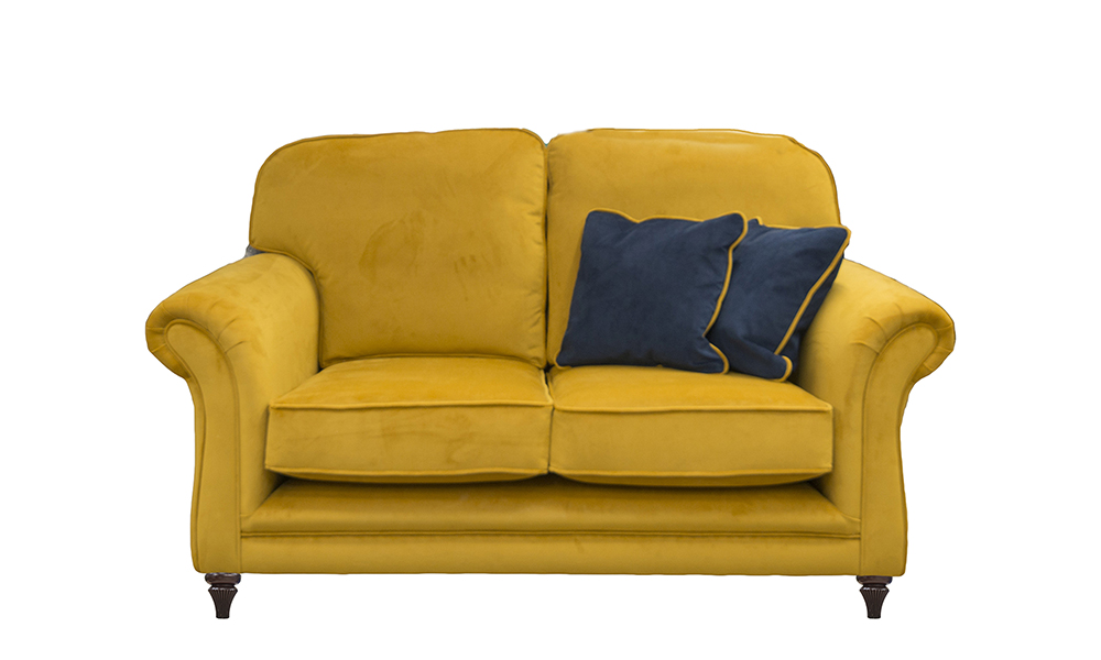 Elton 2 Seater Sofa in Plush Turmeric, Silver Collection FabricElton Small Sofa in Plush Turmeric, Gold Collection Fabric