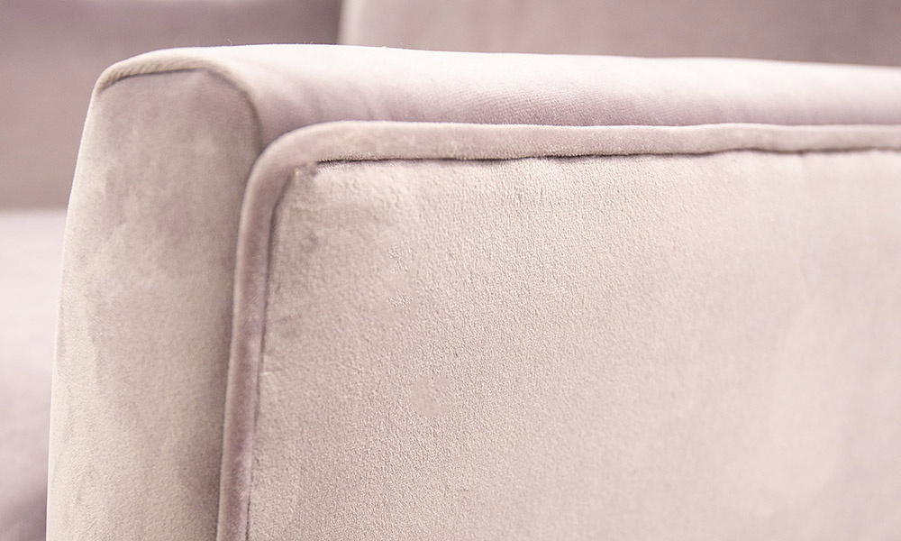 Geneva Chair arm detail, Jbrown Amalfi Lilac, Gold Collection Fabric