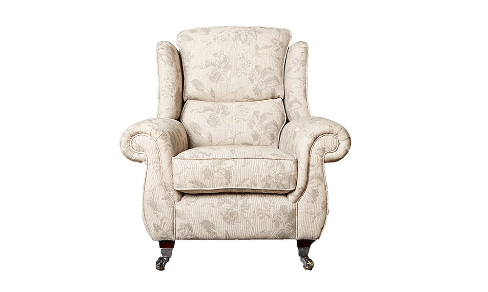 Greville Chair in Volkan Cinder Pattern, Silver Collection Fabric