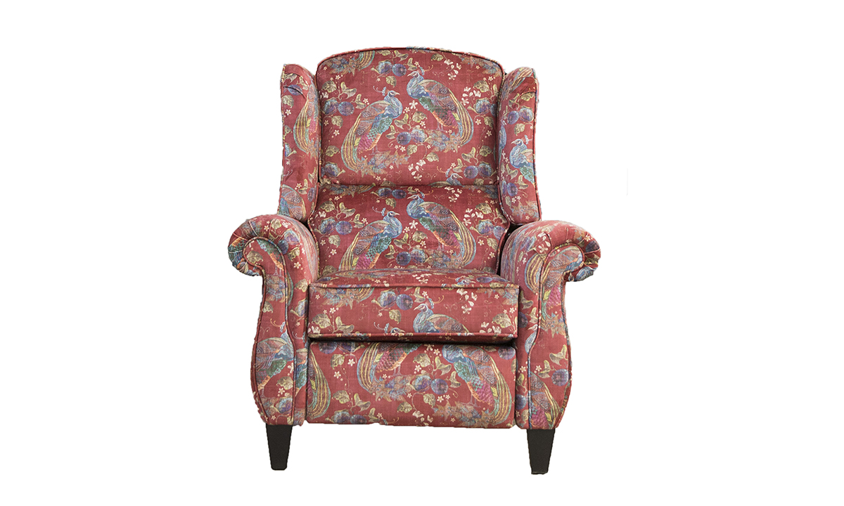 Greville Recliner Chair in Peacock Cranberry, Platinum Collection Fabrics
