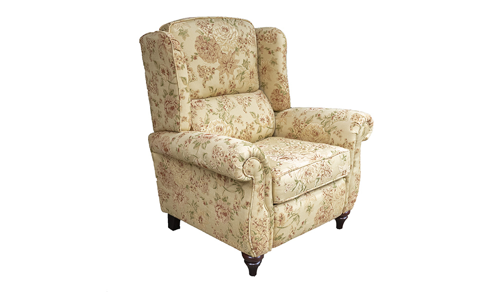 Greville Recliner Chair in Semi Ramis, Pattern Platinum Collection Fabric