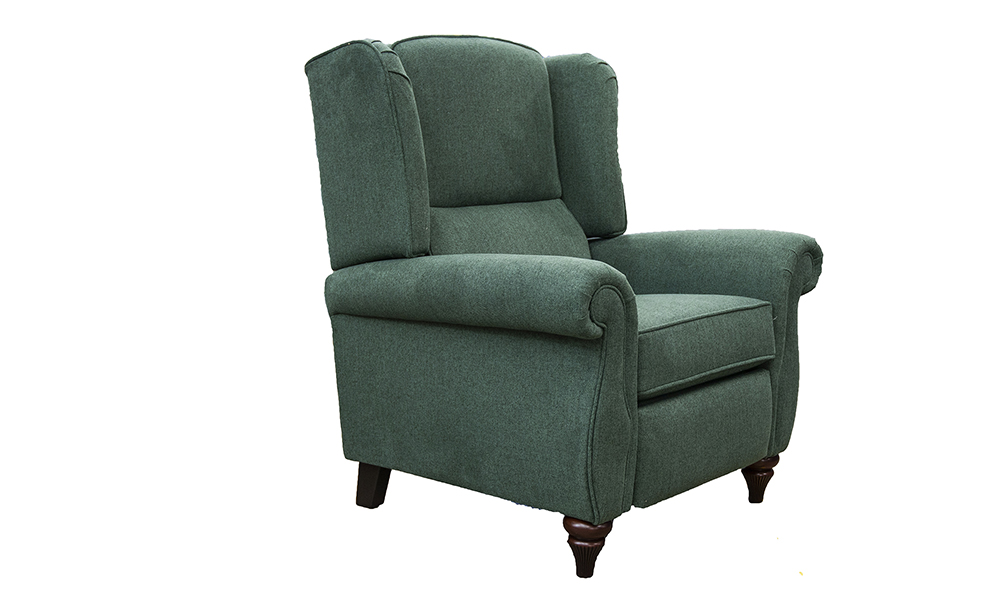 Greville Recliner Chair in Soho Green, Silver Collection of Fabrics