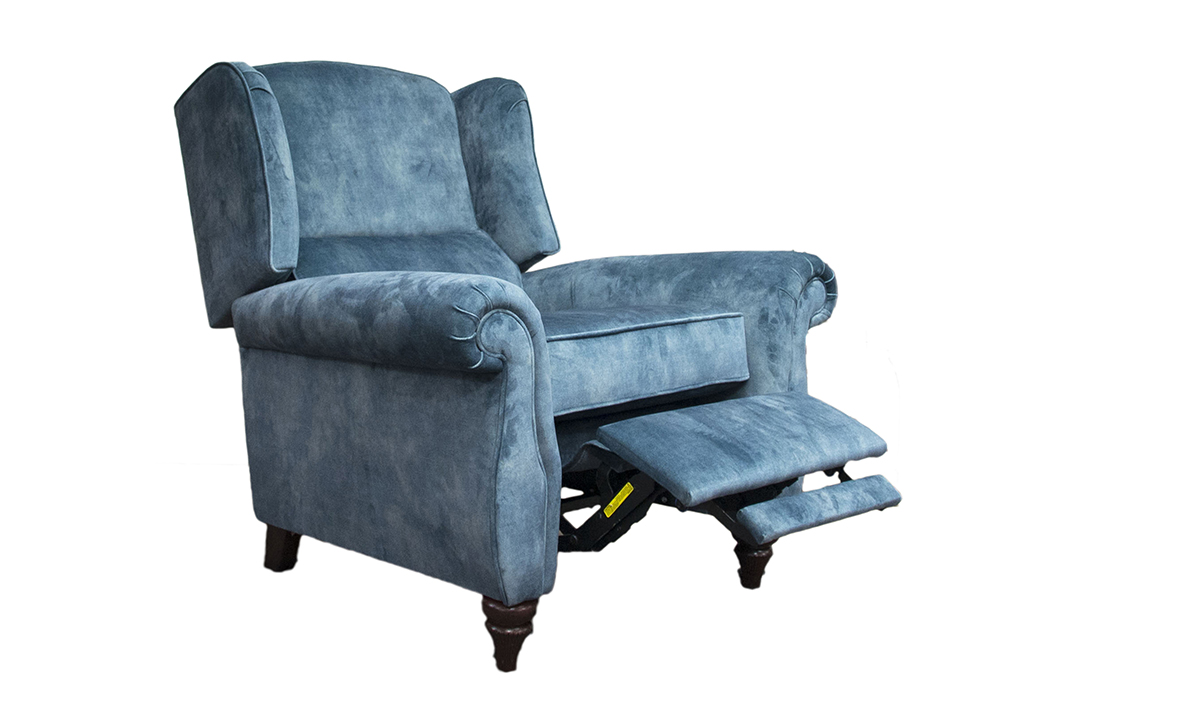 Greville Recliner Chair in Lovely Ocean, Gold Collection Fabric