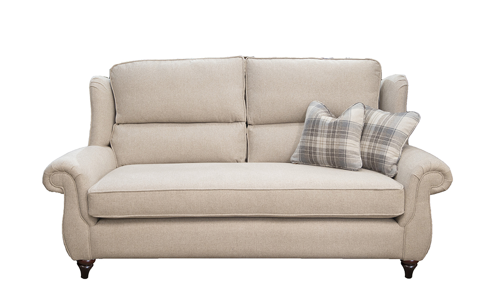 Greville 3 Seater Sofa With a Bench Seat (bespoke option) in Soho Oatmeal, Silver Collection of Fabrics