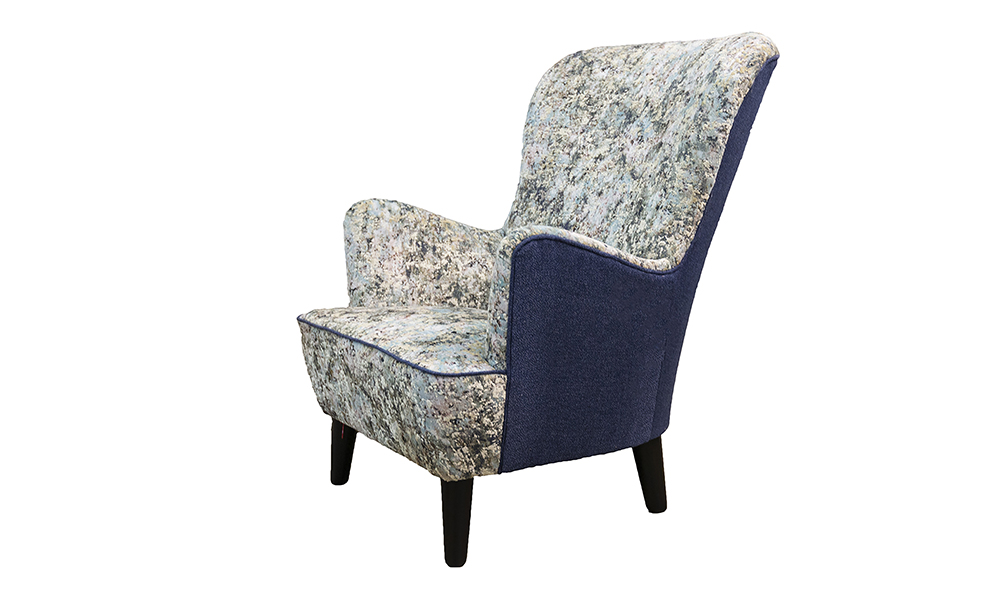 Holly Chair Side in Igloo Ocean, Platinum Collection Fabric, Back Panel in Luca Navy, Bronze Collection Fabric