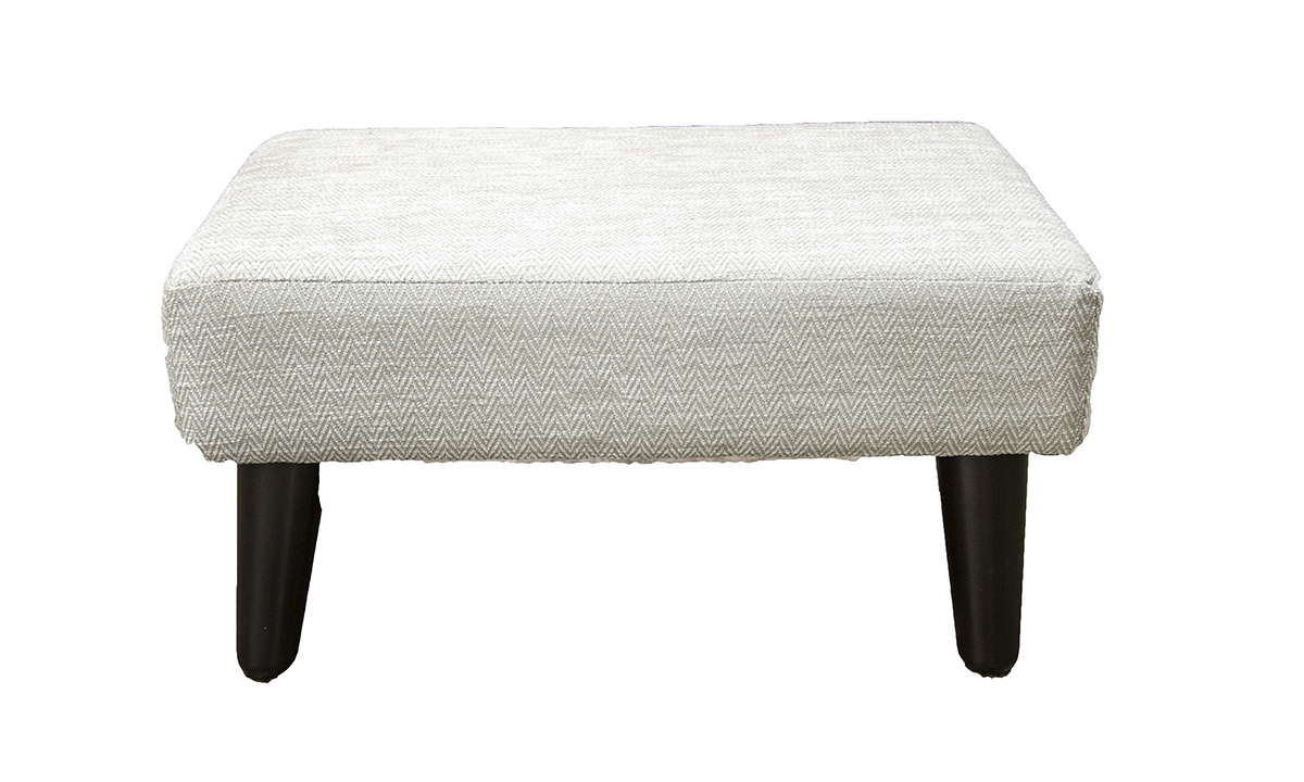 Holly Footstool in Lenora Cloud, Silver Collection