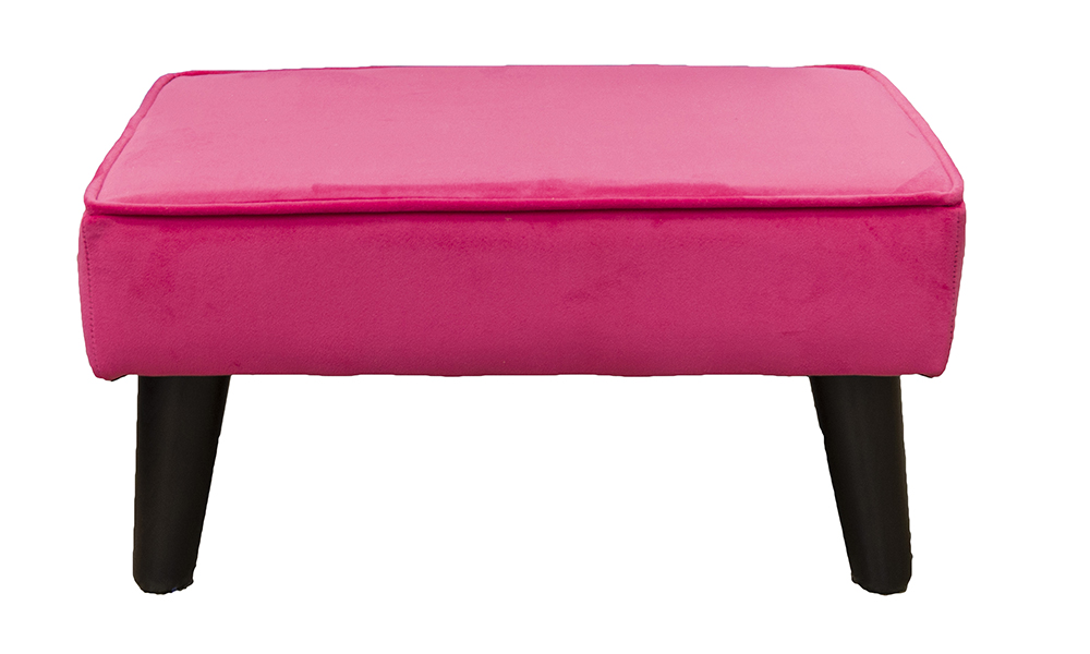 Holly Footstool in Plush Peony Silver Collection 519036