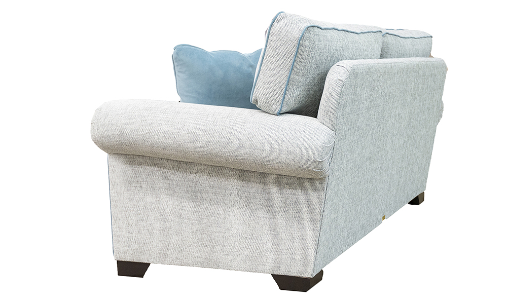 Imerpial 3 Seater Sofa in Bravo Duck Egg, Piped in Plush Airforce, Silver Collection - 518752