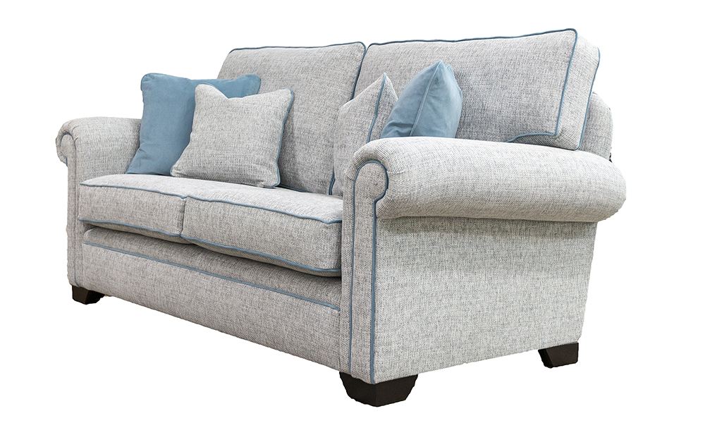 Imperial 3 Seater Sofa in Bravo Duck Egg, Piped in Plush Airforce, Silver Collection - 518752