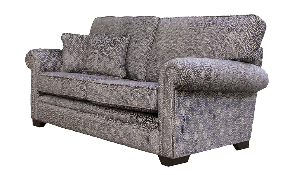Imperial 3 Seater Sofa in Monaco Pattern Steel, Platinium Collection Fabric