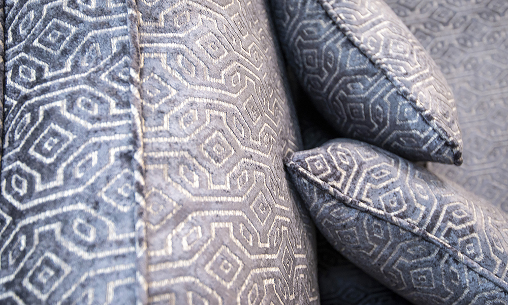 Imperial Scatter cushion Detail Monaco Pattern Steel, Platinium Collection Fabric