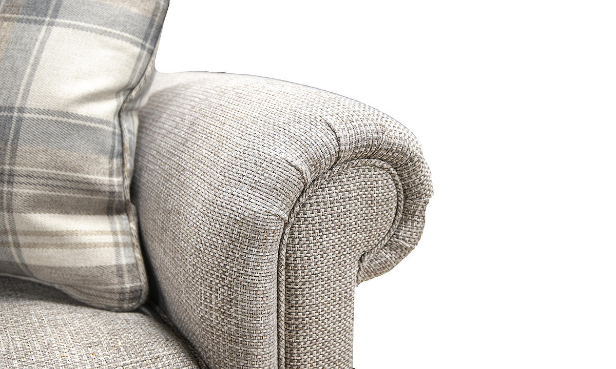 Imperial-Small-Sofa-arm-detail-in-Milwaukee-Grey-Bronze-Collection-Fabri