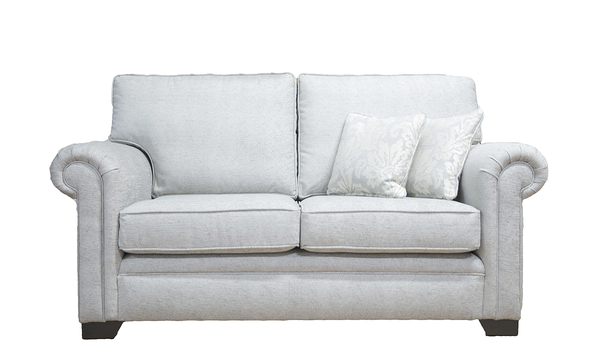 Imperial 2 Seater Sofa in Loisa Plain Grey, Silver Collection Fabric