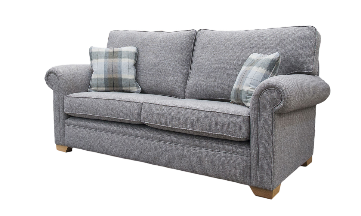 Imperial 2 Seater Sofa in Milwaukee Grey, Bronze Collection Fabric