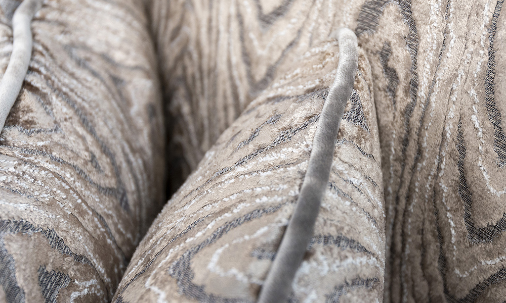 Scatter Cushion in Monaco Geometric Taupe and Contrat Piped in Boulder Silver, Platinium Collection Fabric