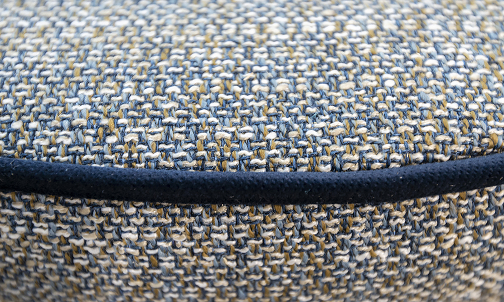 Pluto Footstool Close Up in Customers Own Fabric