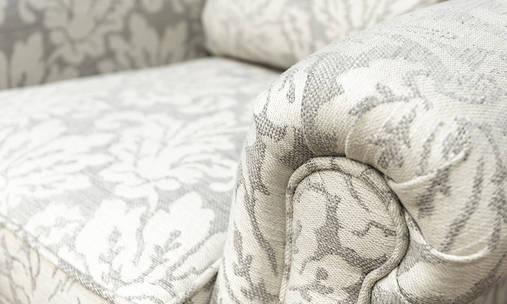 King Chair Detail in Loisa Pattern Grey, Silver Collection Fabric
