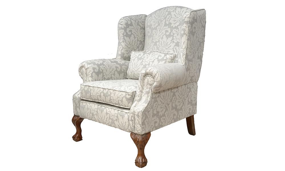 King Chair in Loisa Pattern Grey, Silver Collection Fabric