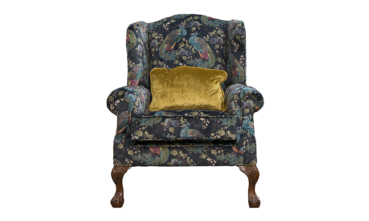 King Chair Peacock Navy Platinum-Collection of Fabrics