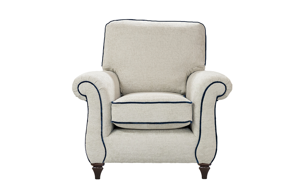 La Scala Chair in Schino Natural, Gold Collection Fabric, Piped in Boulder Navy, 405795
