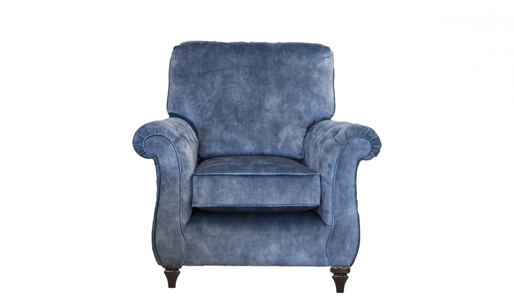 La Scala Chair  with Deep Buttons Arms in Lovely Atlantic Gold Collection Fabric