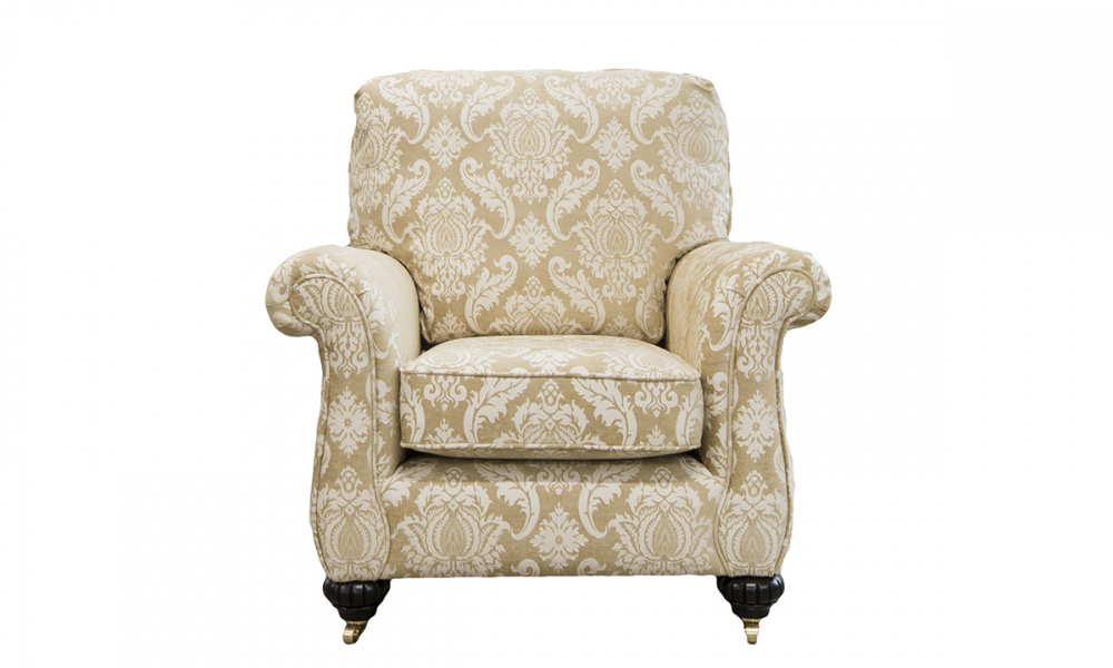 La Scala Chair in Tolstoy Straw Pattern, Platinum Collection Fabric.