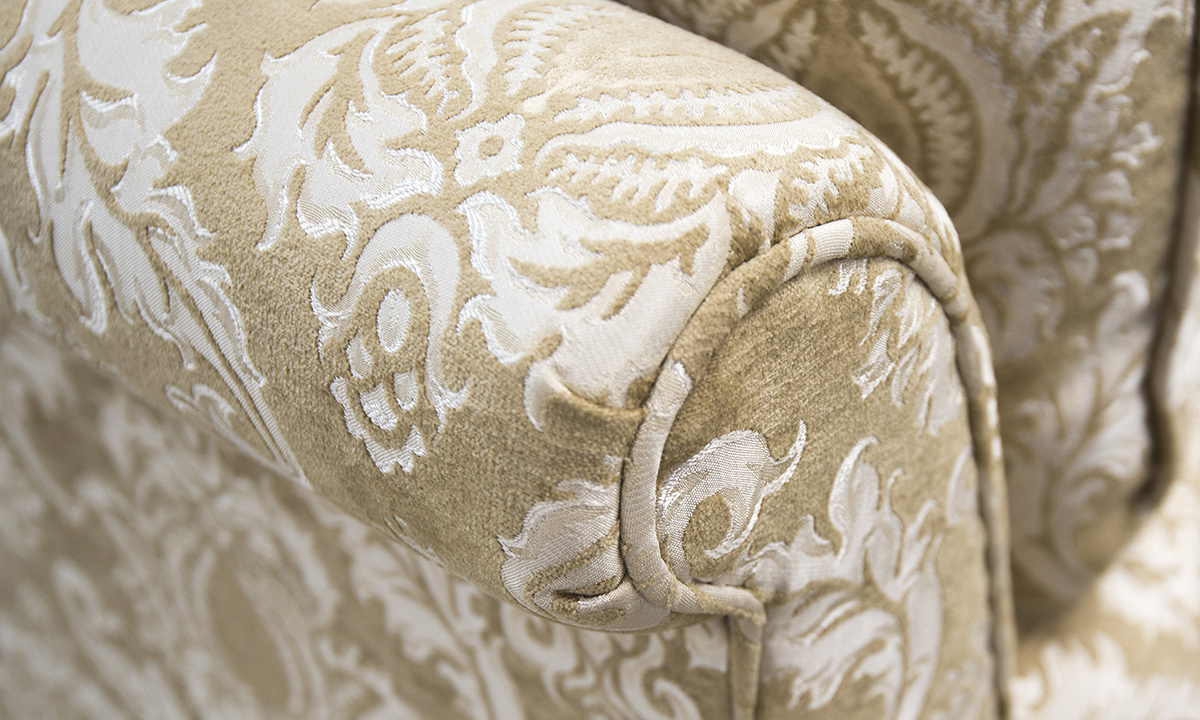 Lafayette Sofa arm detail in Tolstoy Straw Pattern, Platinum Collection Fabric