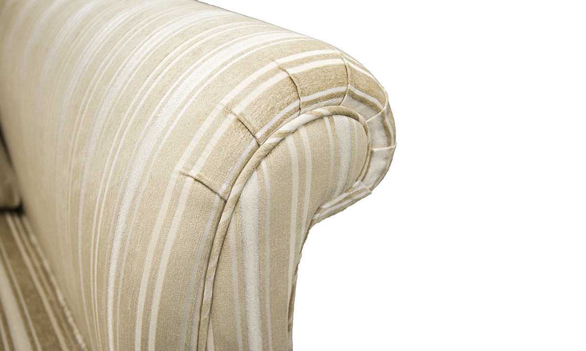Lafayette Sofa arm detail in Tolstoy Straw Stripe, Platinum Collection Fabric.