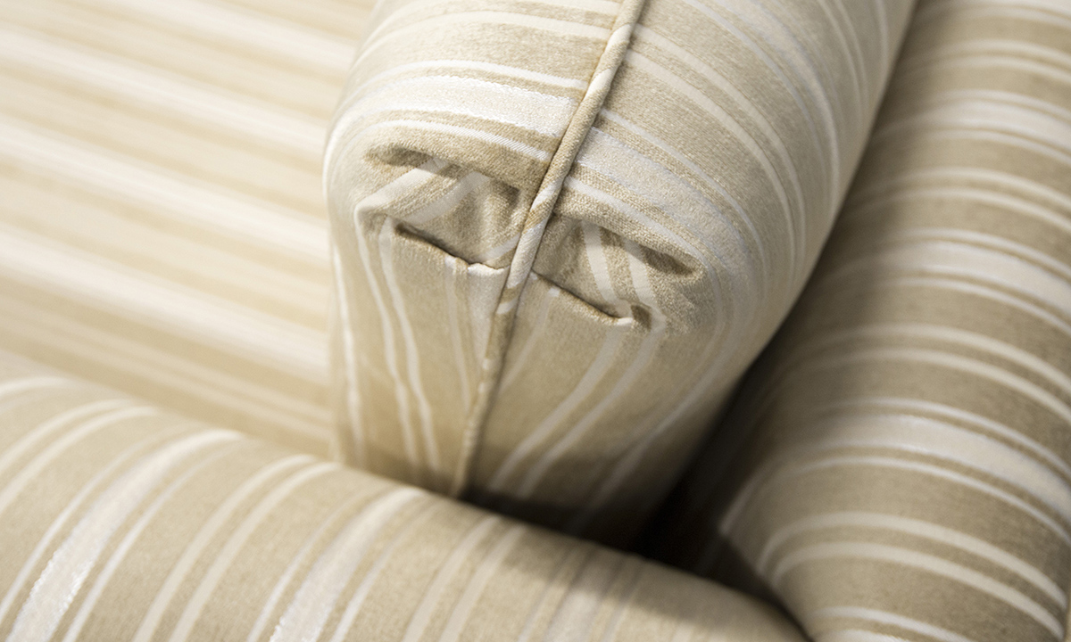 Lafayette Sofa detail in Tolstoy Straw Stripe, Platinum Collection Fabric.