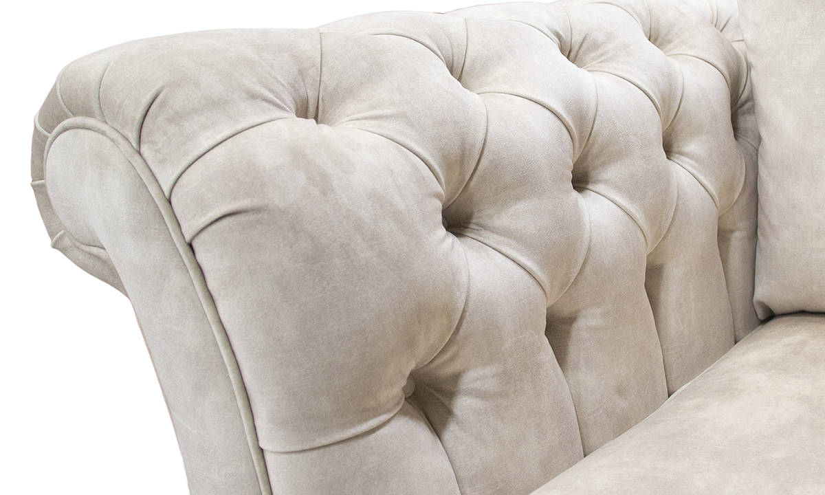 Deep Button Arms in Lovely Almond Gold Collection Fabric
