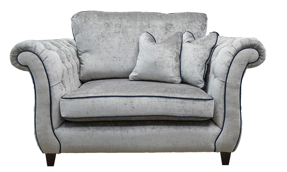 Lafayette Love Seat with Deep Button Arms in Edinburgh Truffle, Silver Collection Fabric