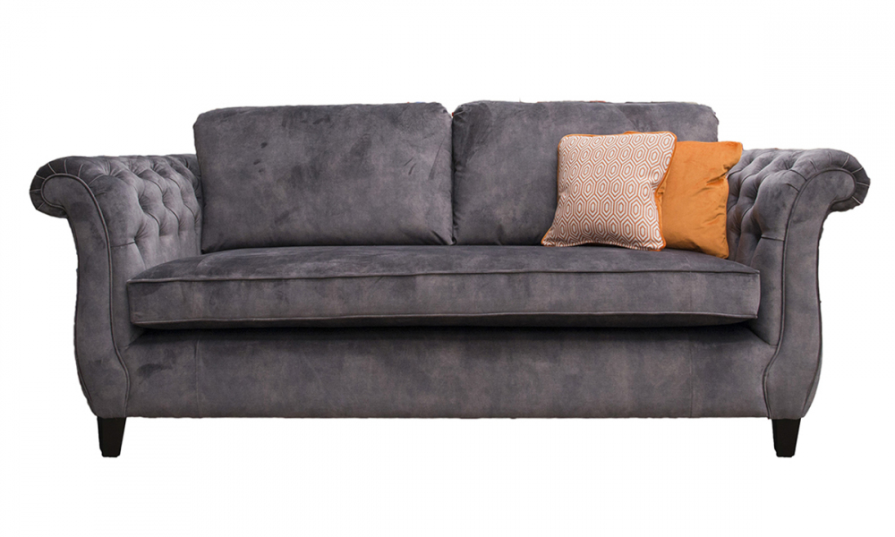Lafayette 3 Seater Sofa with Deep Button Arms (bespoke option) in Lovely Asphalt, Gold Collection Fabric
