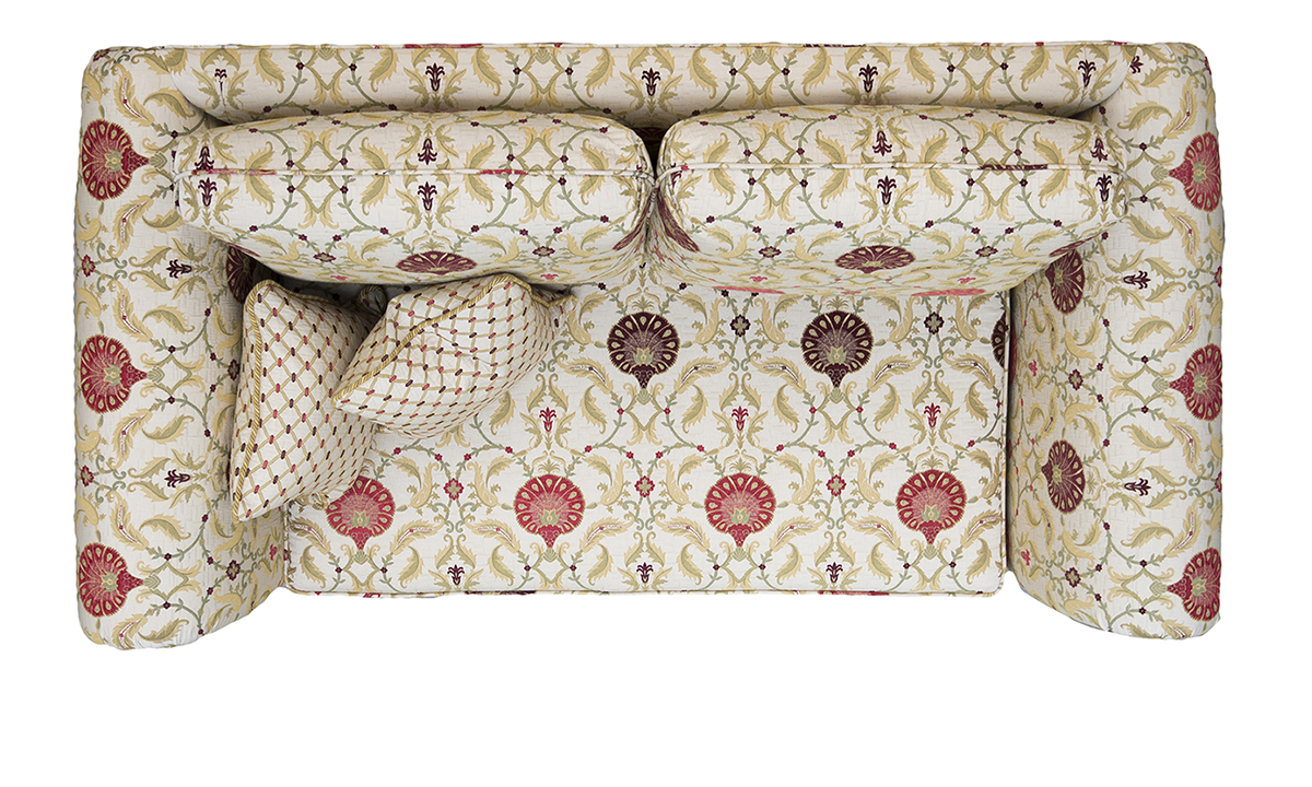 Lafayette Small Sofa Top View in Olympos Loganberry