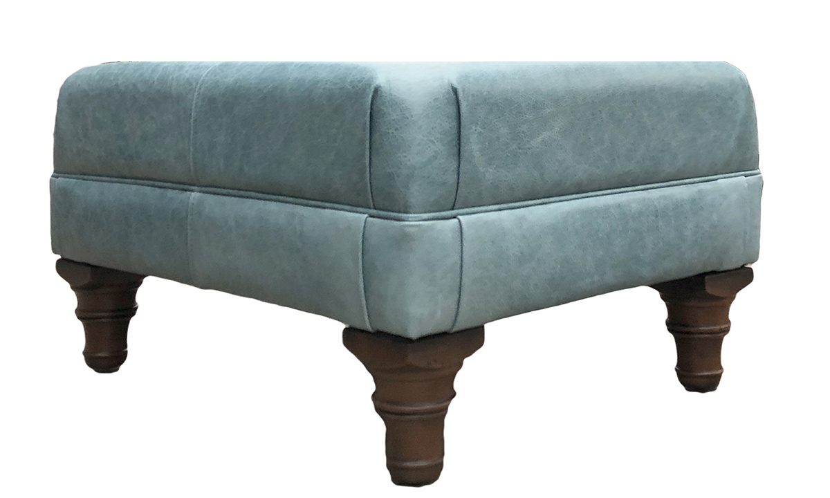 Leather Costa Footstool in Mustang Lagoon