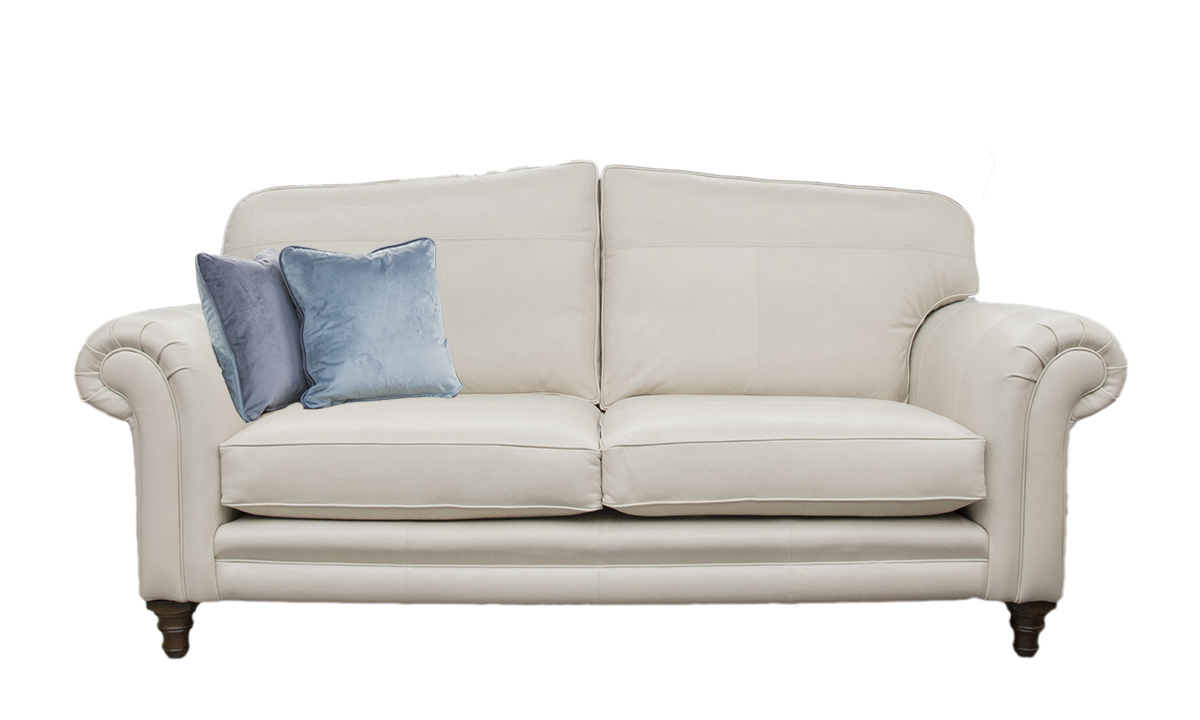 3 Seater  Louis Sofa Leather  Mustang White