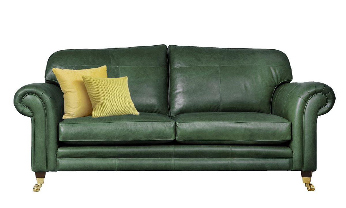3 Seater  Louis Sofa Leather Mustang Emerald
