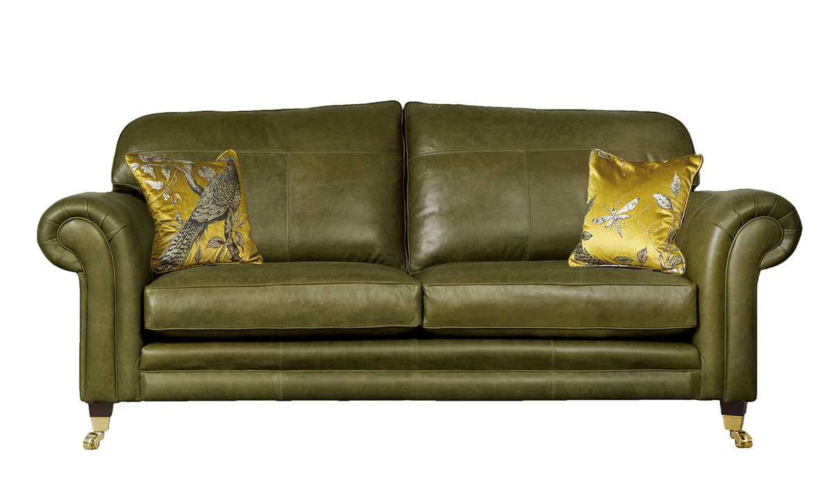 3 Seater  Louis Sofa Leather Mustang Olive