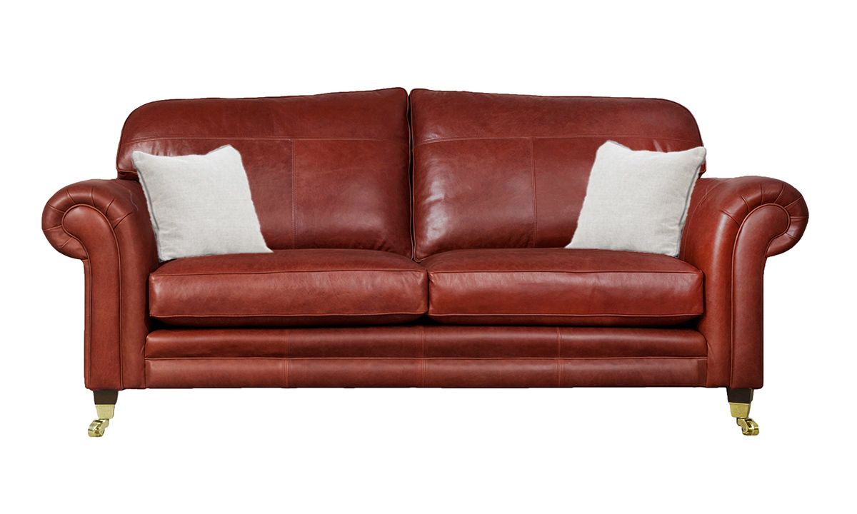 3 Seater  Louis Sofa Leather Mustang Wine