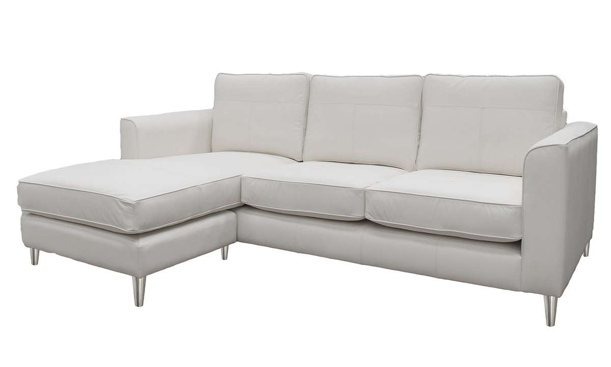 Leather Nolan 3 Seater Chaise End Style Chalk