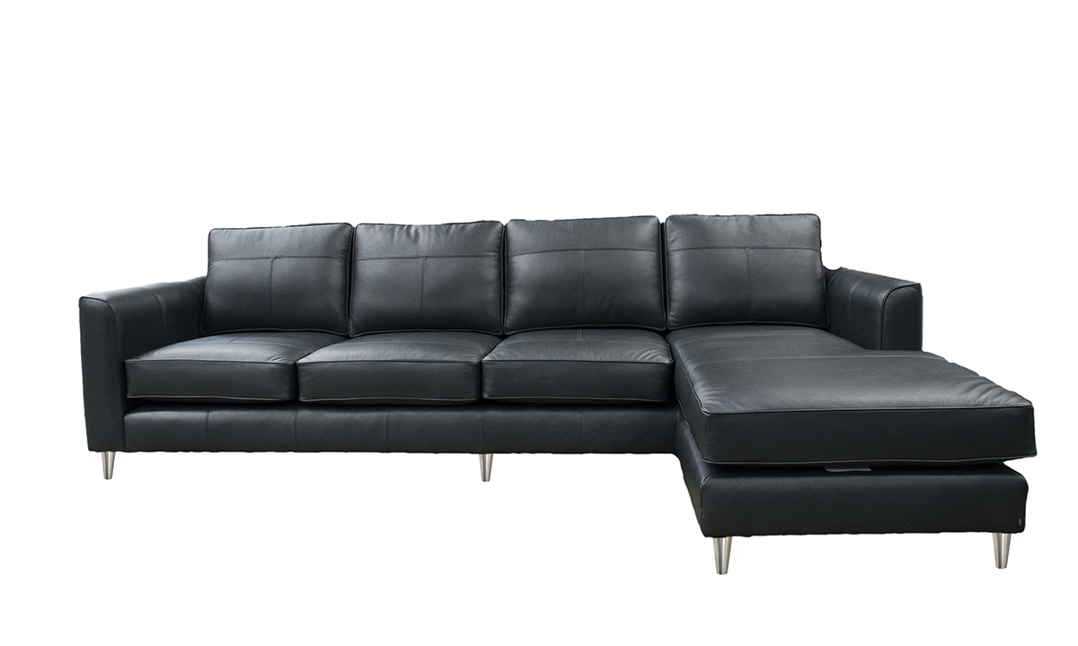 Leather Nolan Chaise End Sofa in Chelsea Charcoal
